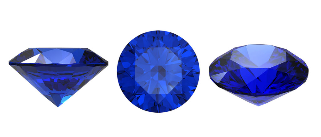 Set of blue sapphire gemstone isolated. Gems different cut