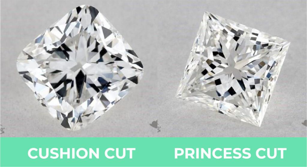 Cushion cut vs princess cut