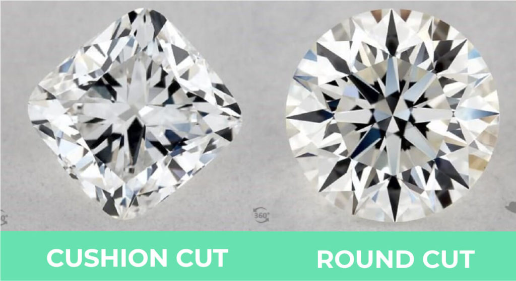 Cushion cut vs round cut brilliant