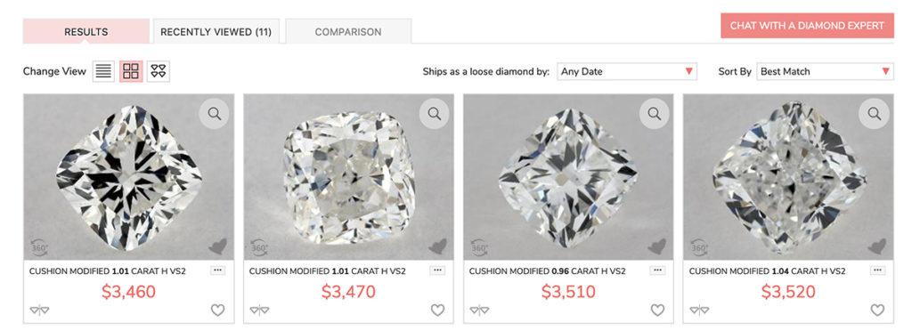 Cushion cut diamonds example