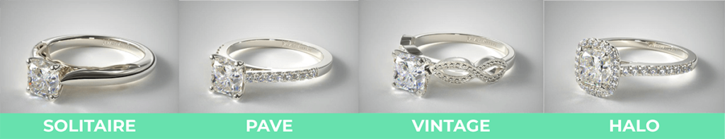 Ring settings comparison pave solitaire vintage halo