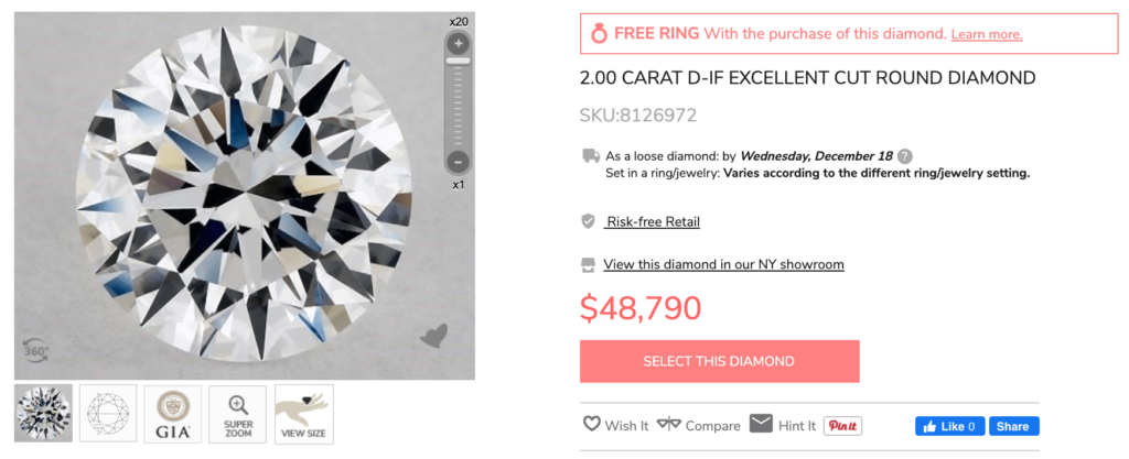 how much is a two carat diamond